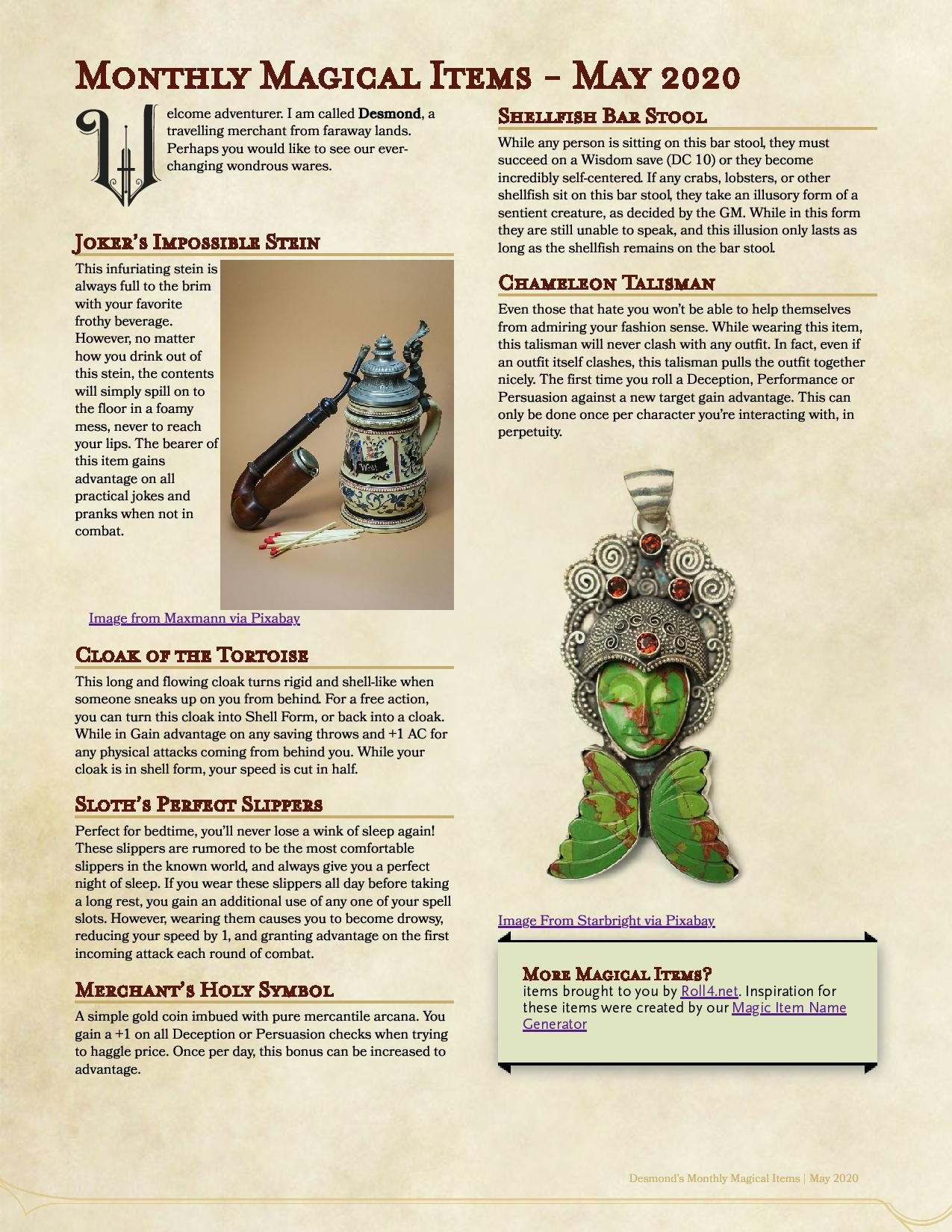 2020-05-Monthly Magical Items
