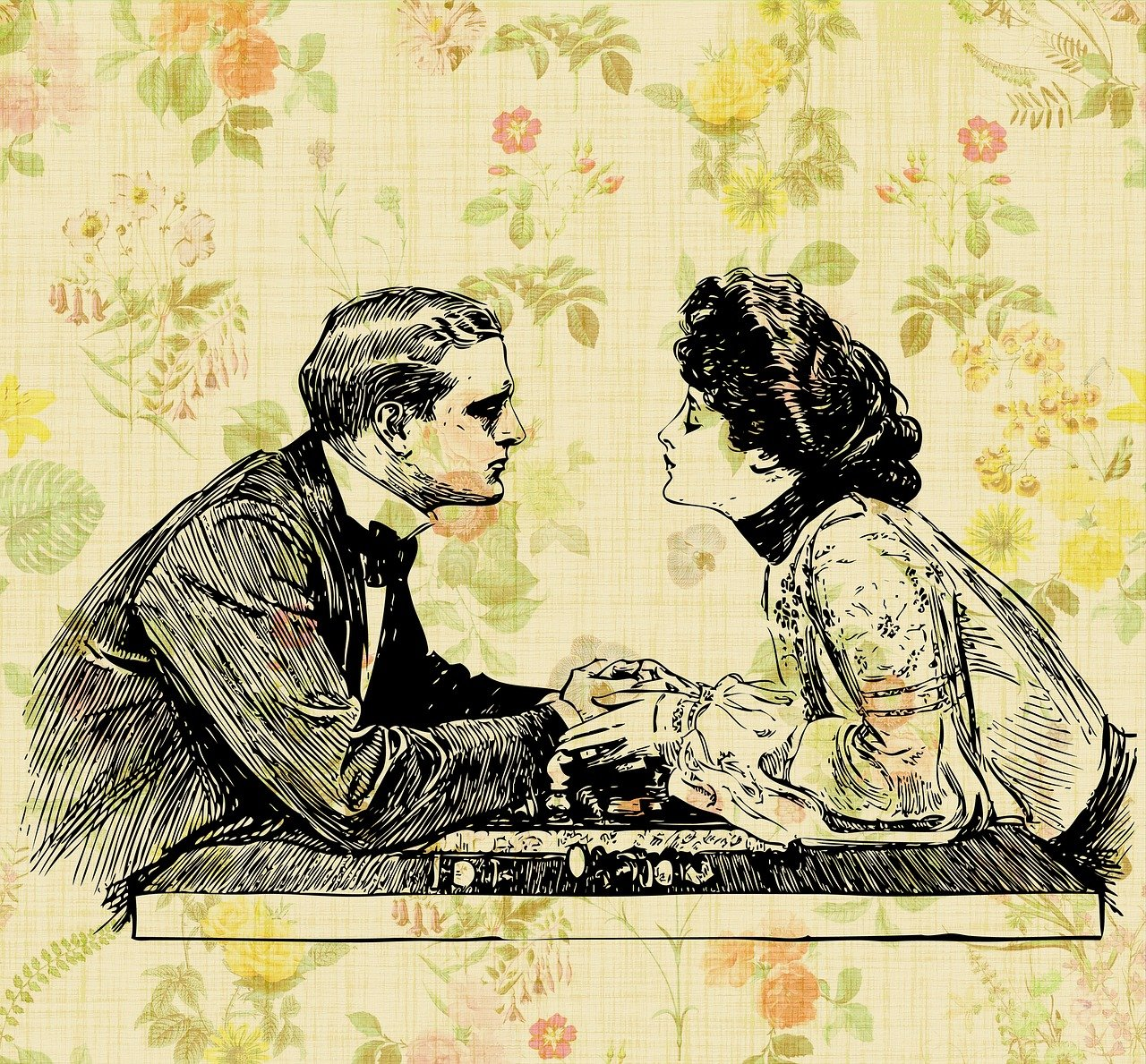 Old artwork of a couple