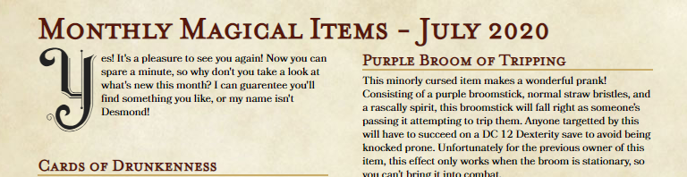 Monthly Magical Items – June 2020