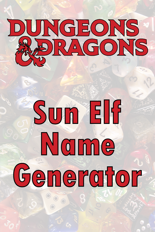 D&D Sun Elf Name Generator